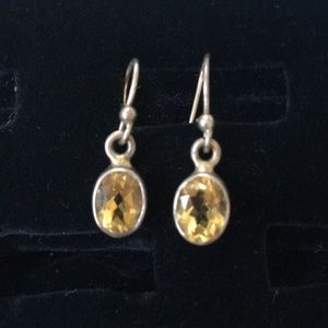 Genuine Citron and Sterling Earrings